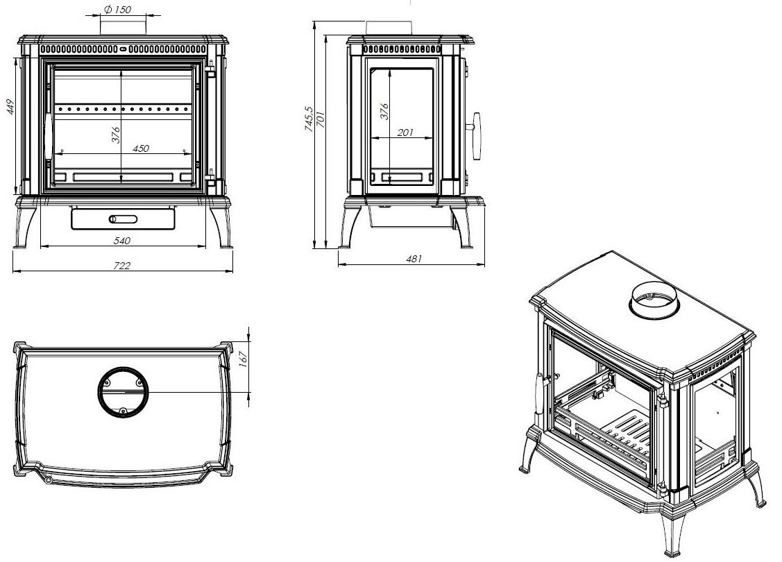 Tehnički crtež Peć Brema NORDflam