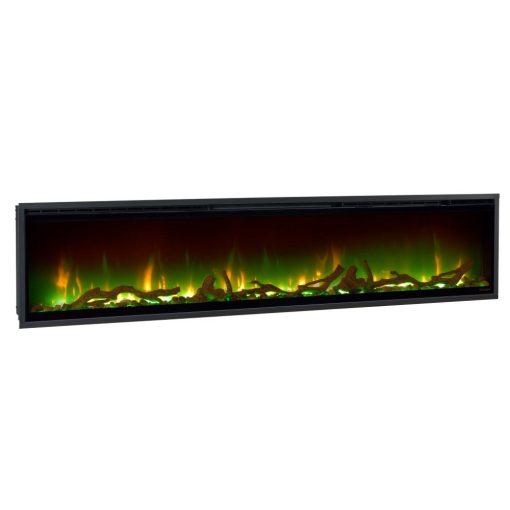 Zeleni prikaz plamena na električnom Ignite XL kaminu sa drvcima