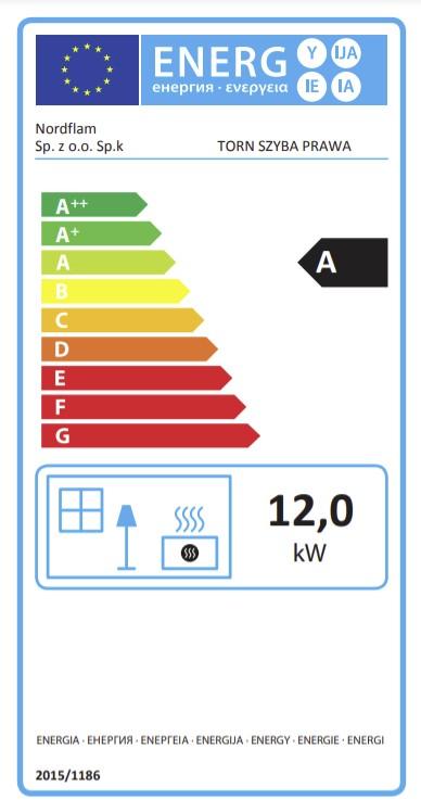 Energetska klasa za ugaoni desni kamin Torn NORDflam