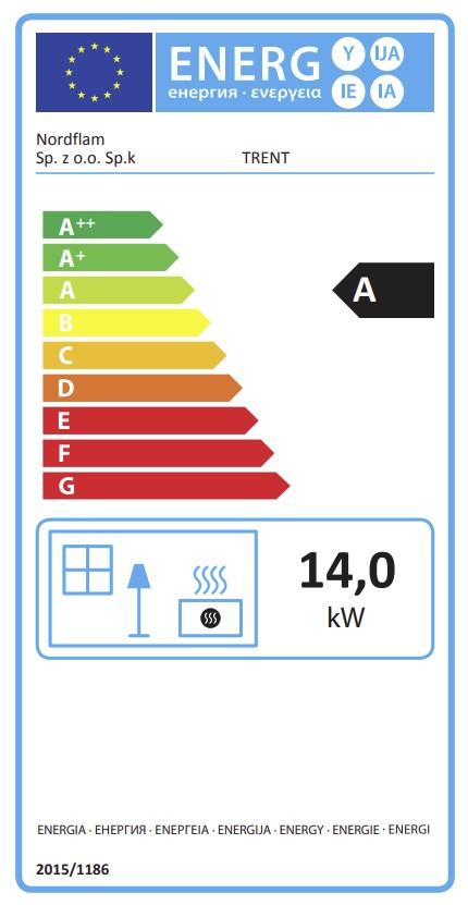 Energetska nalepnica kamin Trent Nordflam
