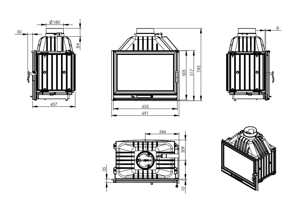 Tehnički crtež LB 700 piroliza kamin na drva