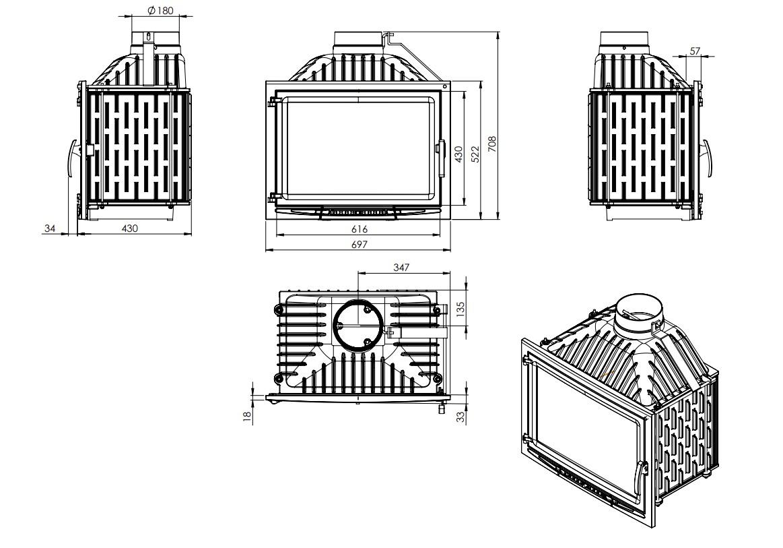 Tehnički crtež kamin Rodano NORDflam