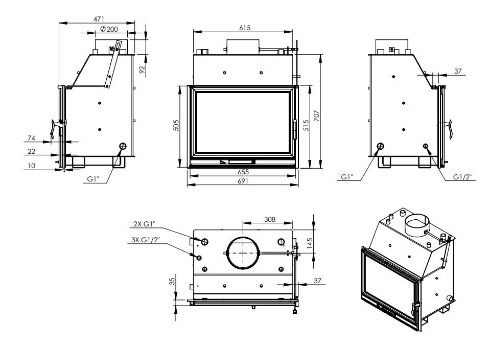 Tehnički crtež za kamin LB 800 PW