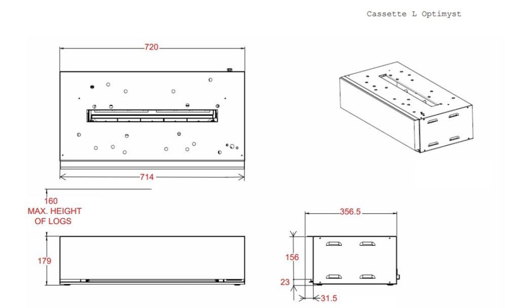 Tehnički crtež Cassette L Dimplex