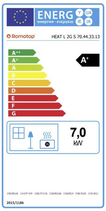 Energetska nalepnica ugaoni HEAT kamin Romotop 70.44.33