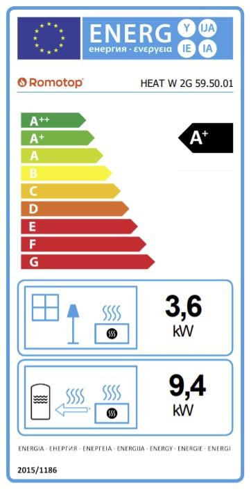 Energetska nalepnica kamin za etažno grejanje Heat W 59.50.01