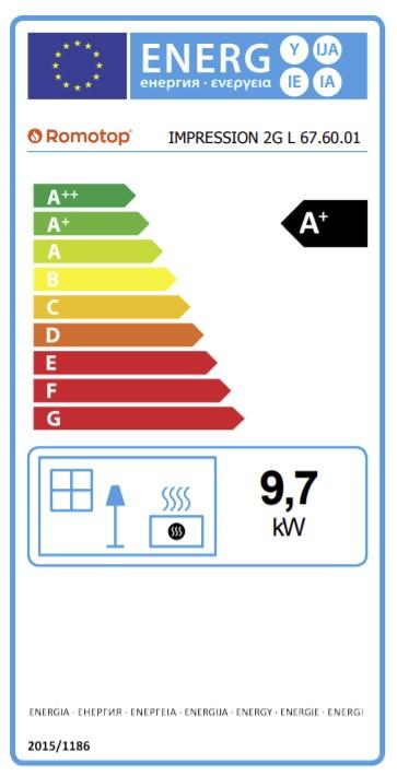 Energetska nalepnica frontalni kamin Impression 67.60.01