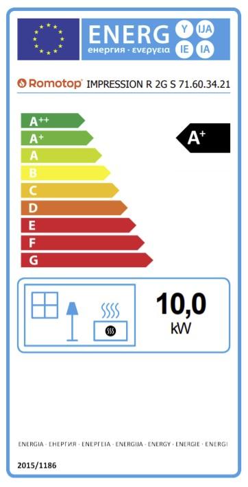 Energetska nalepnica desni ugaoni Impression kamin 71.60.34