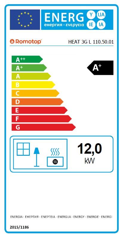 Energetska nalepnica kamin Heat Romotop 110.50.01