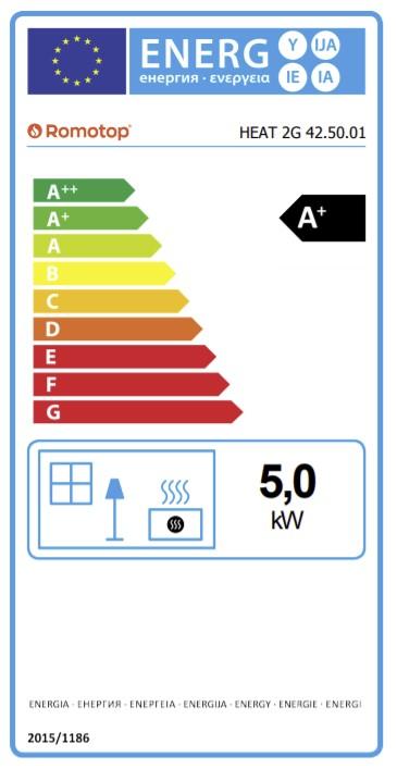 Energetska nalepnica kamin Heat 42.50.01