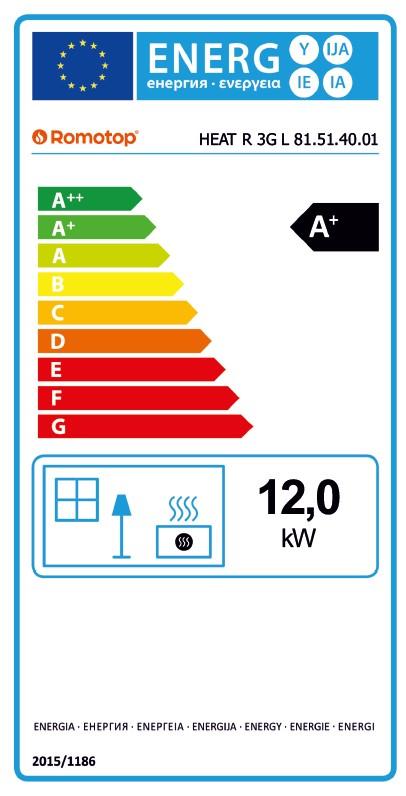 Energetska nalepnica ugaoni desni kamin Heat 81.51.40