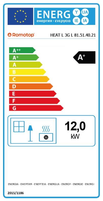 Energetska nalepnica ugaoni levi kamin Heat Romotop 81.51.40