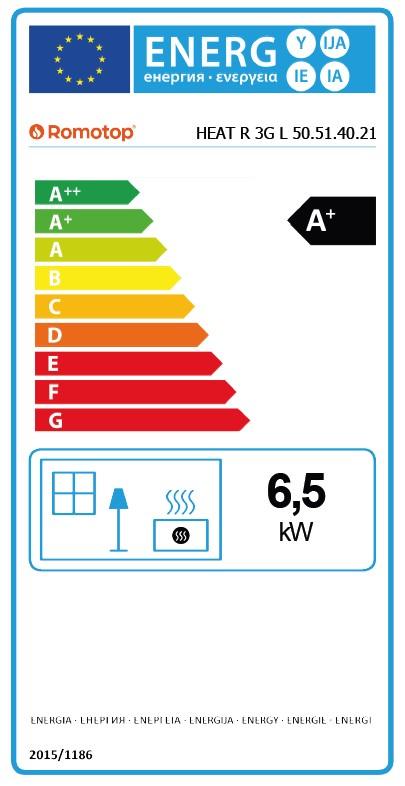Energetska nalepnica ugaoni levi kamin Heat L 3g 50.51.40