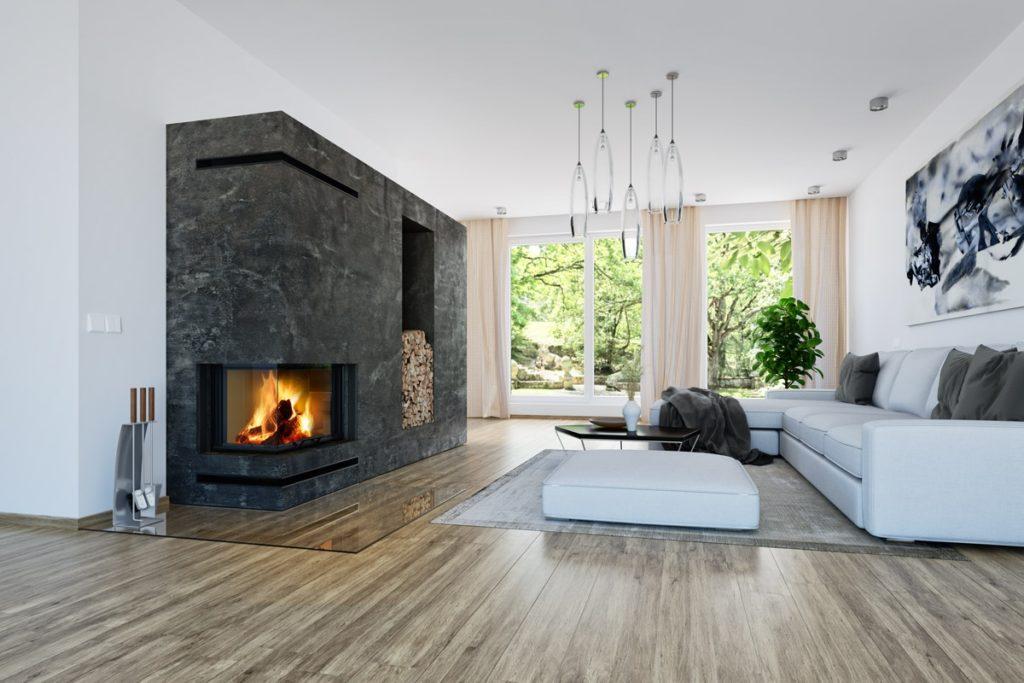 Ugrađen ugaoni kamin u dnevnu sobu