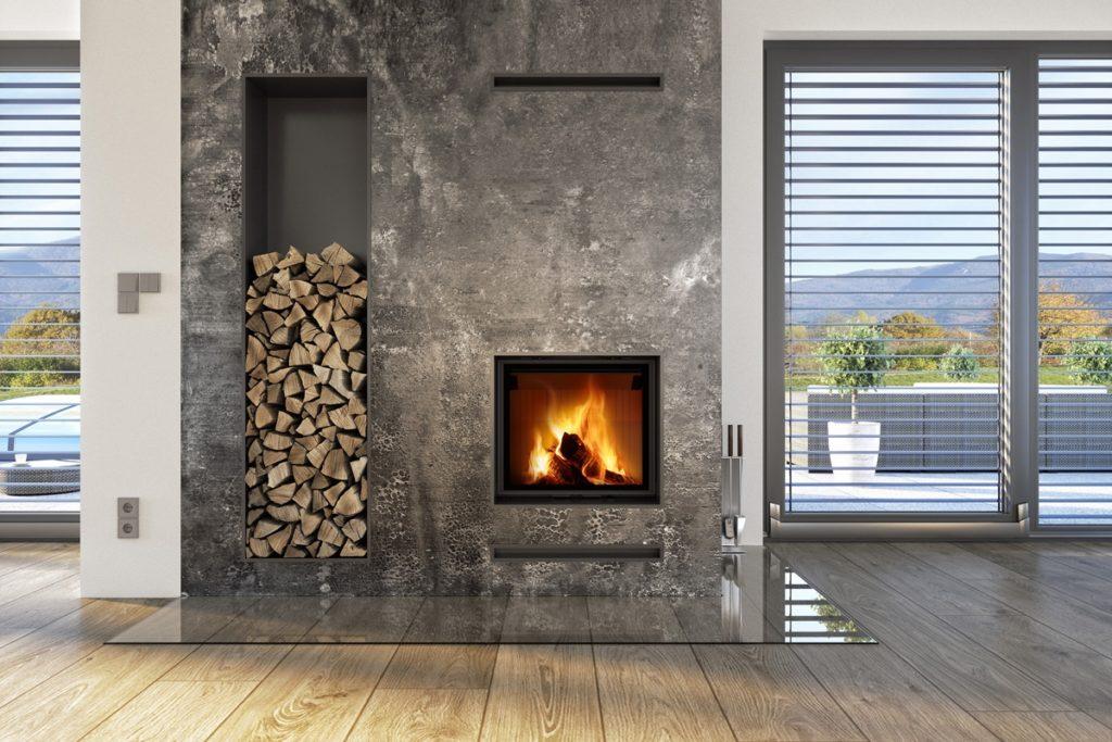 Kamin u dnevnoj sobi sa ugrađenim sandukom za drva Impression Romotop