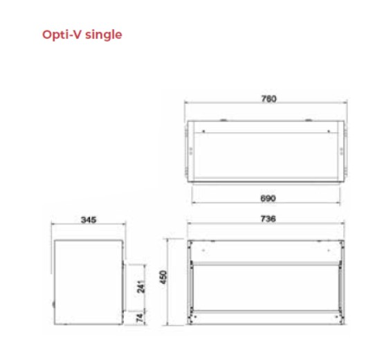 Opti-V single tehnički crtež