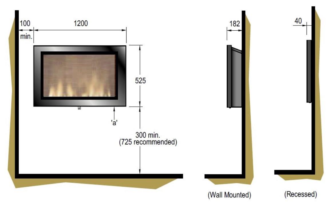 Tehnički crtež električni kamin SP16 Dimplex