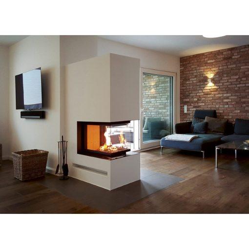 Trostrani kamin sa podizanjem Romotop Heat U 3G L 50.52.70 u dnevnoj sobi