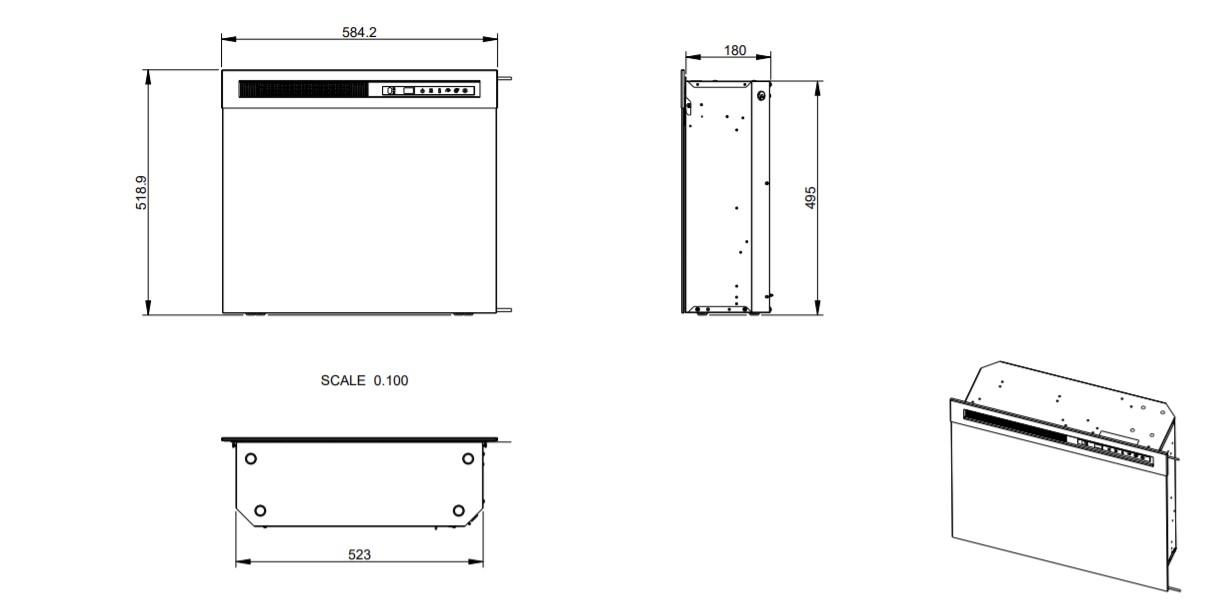 Tehnički crtez električnog kamina XHD 23