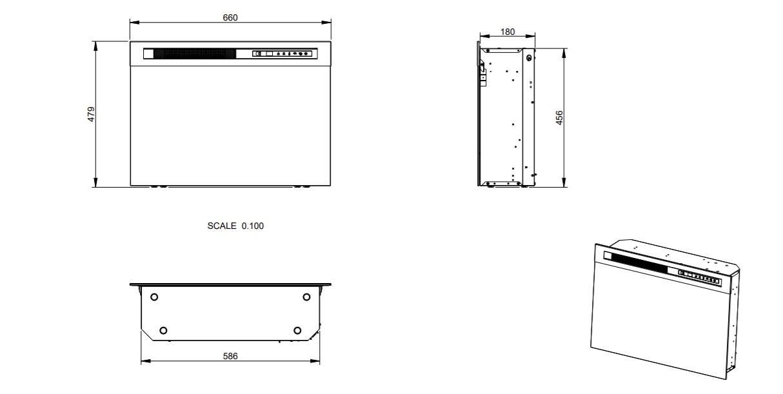 Tehnički crtež električnog kamina XHD 26