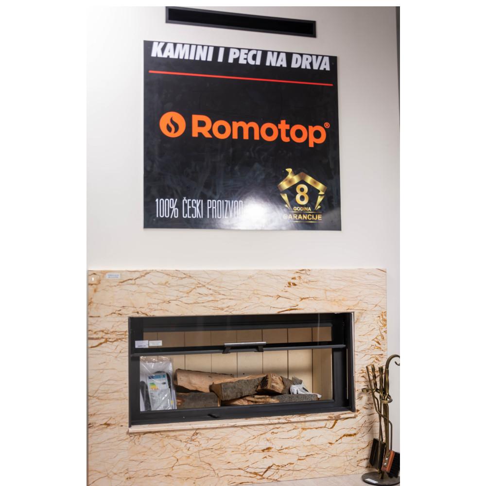 Kamin sa prednjim staklom i sistemom podizanja Romotop