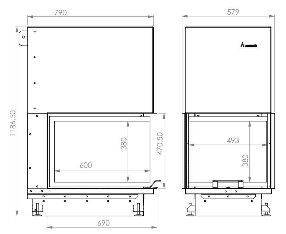 Tehnički crtež kamina Crystal Eco 3D 50x60 A.caminetti