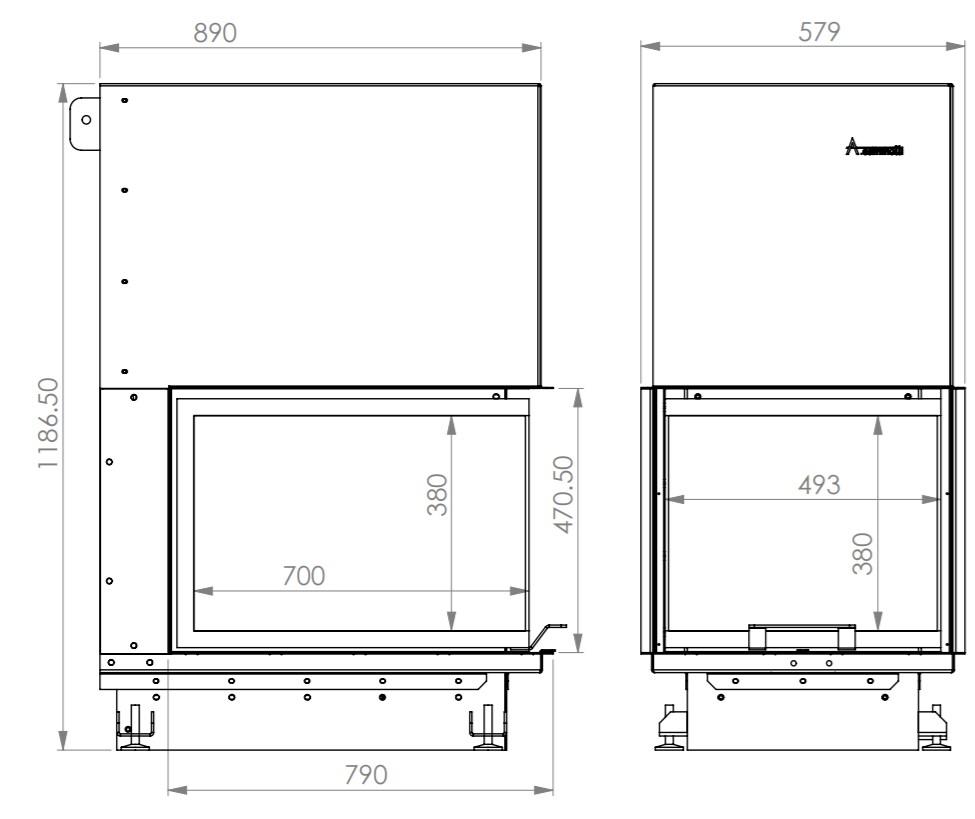 Tehnički crtež kamin na drva Crystal 3D 50x70 ECO - A.caminetti