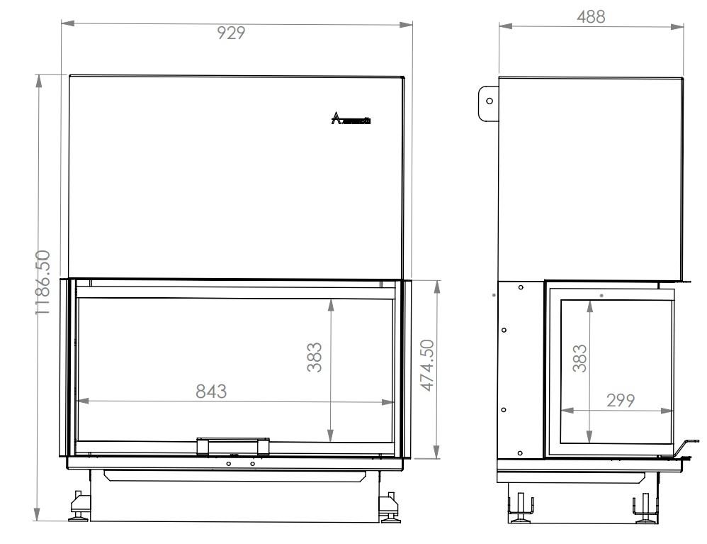 Tehnički crtež Crystal Max 90 Eco A.caminetti