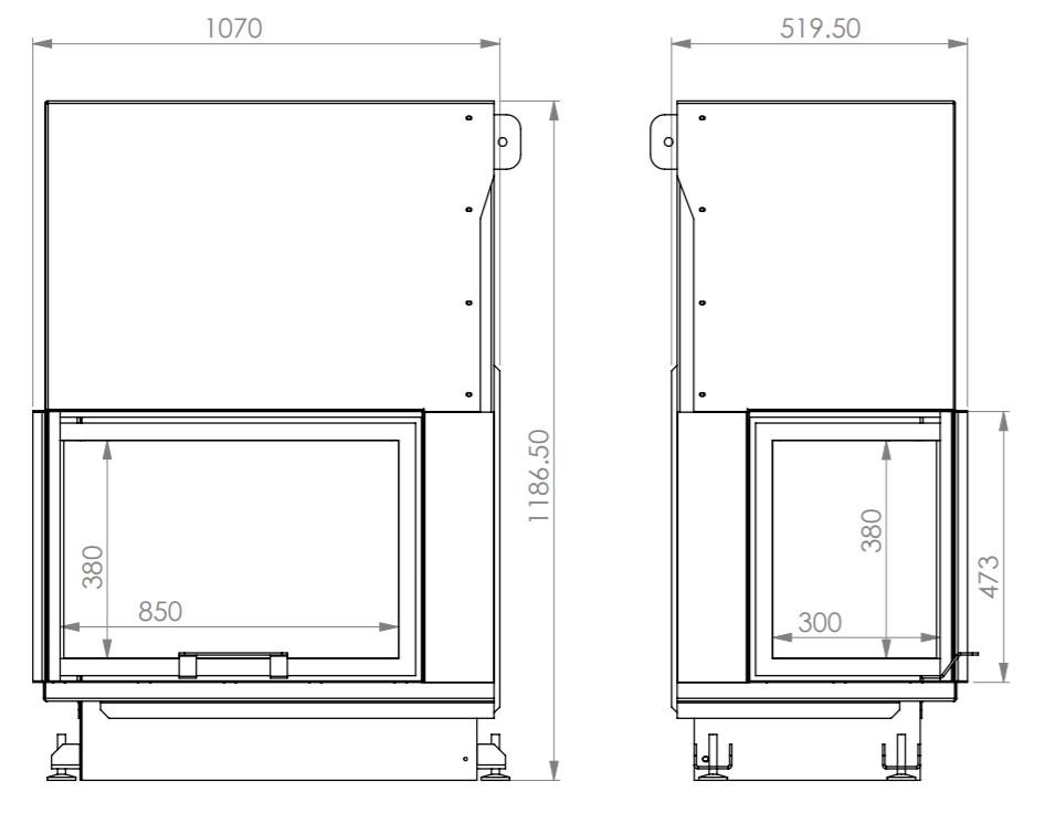 Tehnički crtež kamin na drva Quattro 100 levi i desni ugao A.caminetti