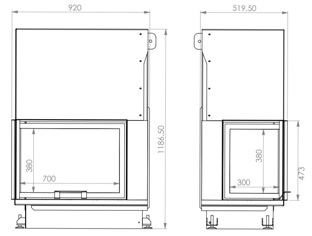 Tehnički crtež Kamin na drva Quattro 90 ECO levi i desni ugao