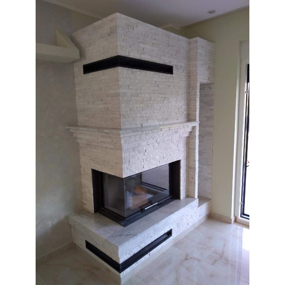 Ugrađen ugaoni levi kamin na drva sa sistemom podizanja Romotop