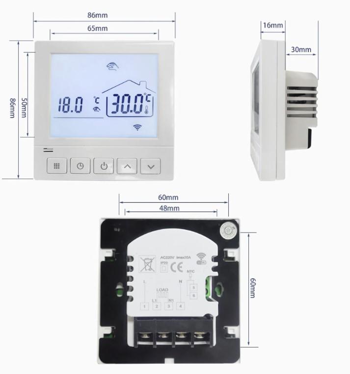 Dimenzije digitalnog Wi-Fi termostata 819H