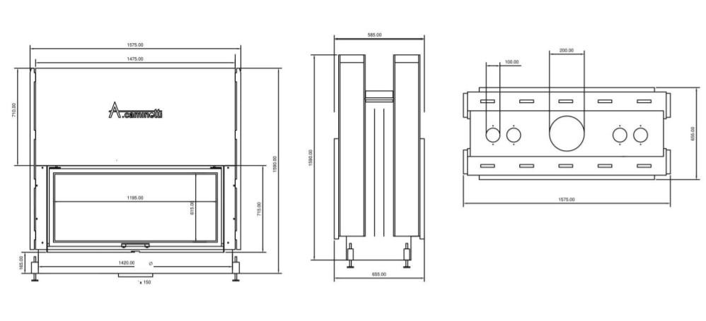 Tehnički crtež tunel flat W 120 x 60 A.caminetti