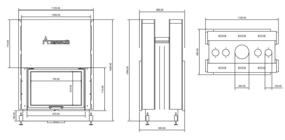 Tehnički crtež kamina Falt W 75x60