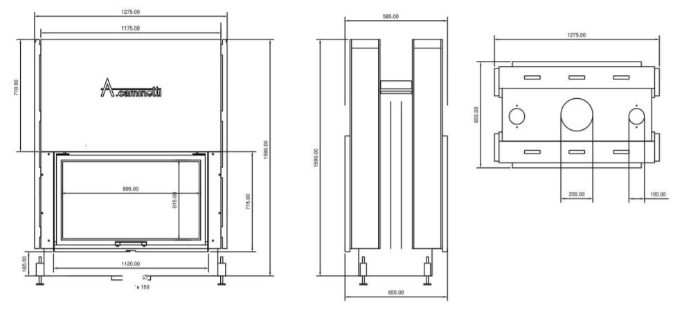 Tehnički crtež Flat W 90 x 60 A.caminetti
