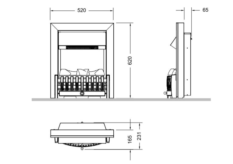 Tehnički crtež električni kamin Danville