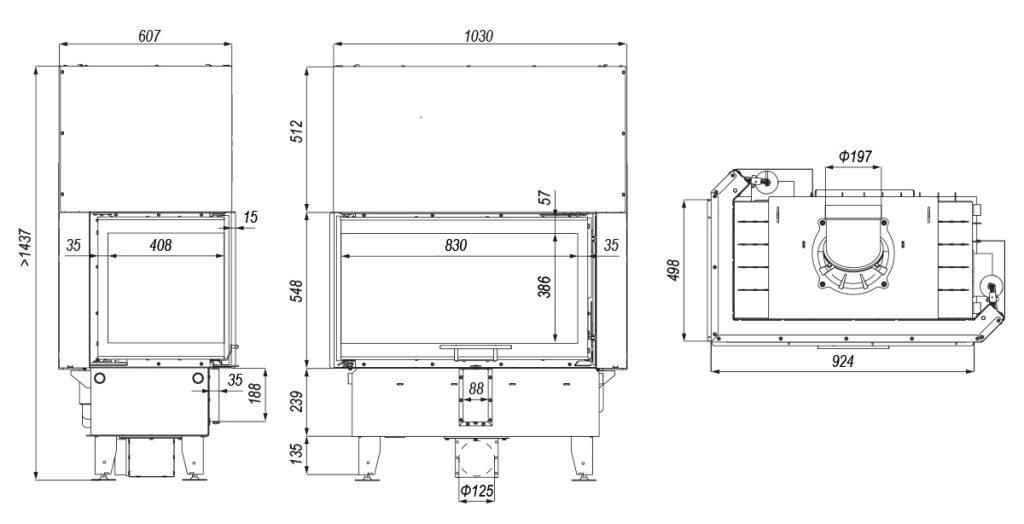 Tehnički crtež DEFRO HOME INTRA ME BL / BP G